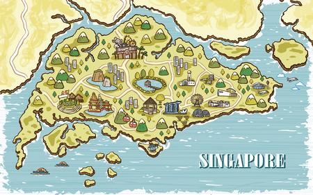 Adorable Karte Singapur Reise in Hand gezeichnet Stil Standard-Bild - 48060291