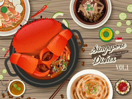 laksa: top view of Singapore traditional delicacies on wooden table