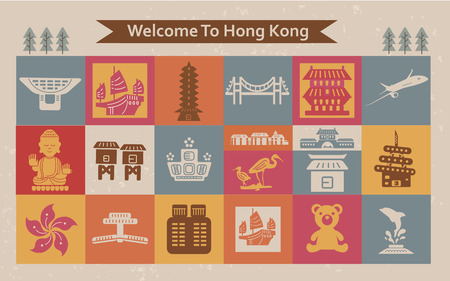 hong kong: colorful Hong Kong travel collections in flat style