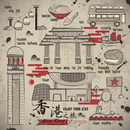 HONG KONG: retro Hong Kong travel elements collection in Chinese ink style - the title is Hong Kong travel in Chinese word Illustration