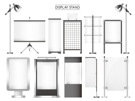 to stand: display stand collection set isolated on white background