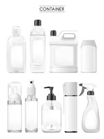 various: container collection set isolated on white background