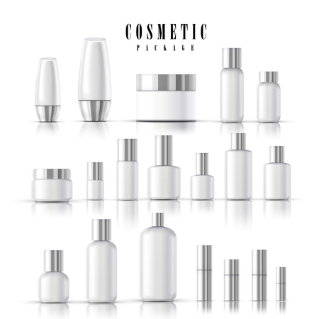 merchandise: blank cosmetic package collection set isolated on white background