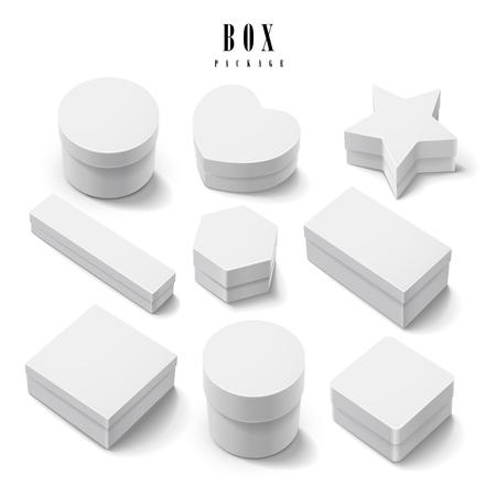objetos cuadrados: caja de regalo conjunto de la colección paquete aislado en el fondo blanco