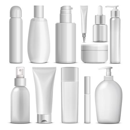 champu: blanco conjunto de recopilación paquete cosmético aislado en el fondo blanco