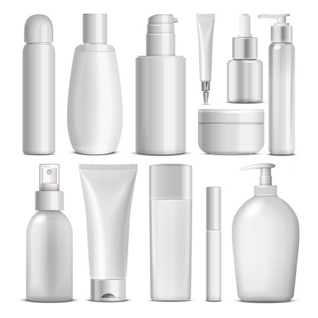 product packaging: blank cosmetic package collection set isolated on white background