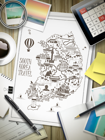 attractive South Korea travel map drawn on paper