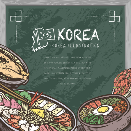 korea food: mouth-watering Korean food in hand drawn style on chalkboard