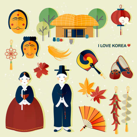 adorable South Korea travel collections in flat style Illustration