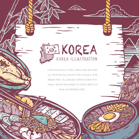 mouthwatering: mouth-watering Korean food in hand drawn style