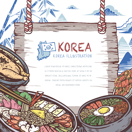 korea food: mouth-watering Korean food in hand drawn style