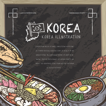 mouthwatering: mouth-watering Korean food in hand drawn style on chalkboard
