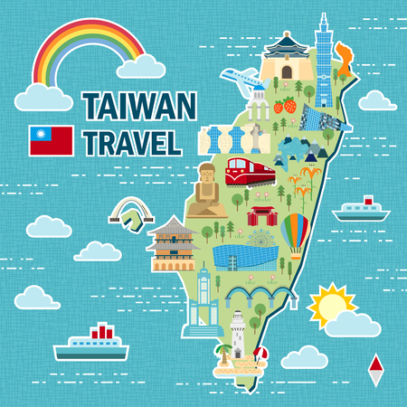 Schöne Taiwan Reise-Karte Design im flachen Stil Standard-Bild - 48664880