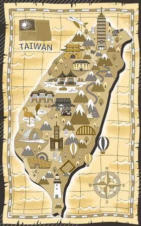 attractions: adorable Taiwan travel map with attractions in flat style