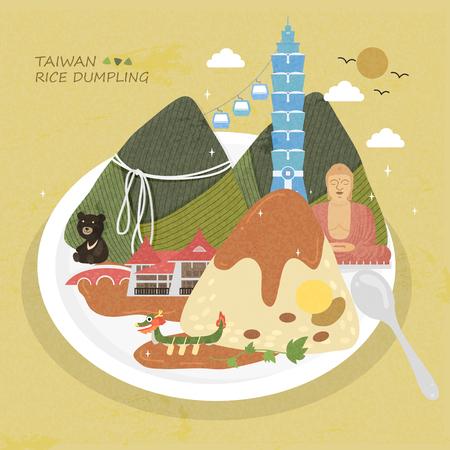Schattig Taiwan rijstbol in vlakke stijl Stockfoto - 48664883