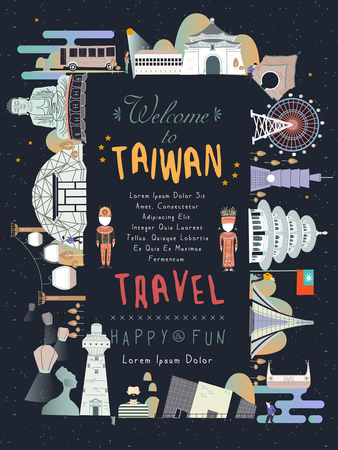 sky lantern: lovely Taiwan travel poster design with famous attractions