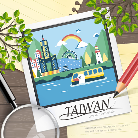 attractions: famous Taiwan travel attractions in flat design