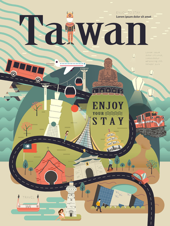 attraction: lovely Taiwan travel poster design with famous attractions