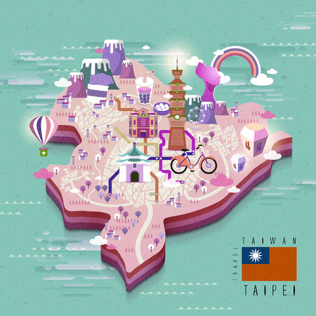 sky lantern: Taipei walking map in 3d isometric style