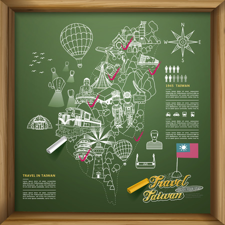 lovely Taiwan travel poster design on chalkboard - Chinese blessing word on sky lantern