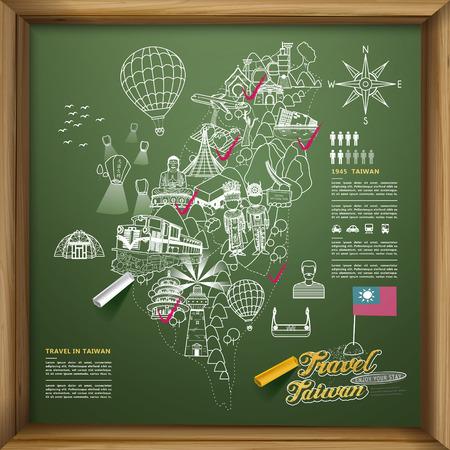 sky lantern: lovely Taiwan travel poster design on chalkboard - Chinese blessing word on sky lantern