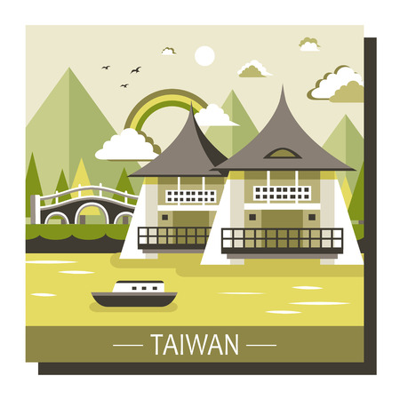 taiwan scenery: famous Taiwan travel attractions in flat design