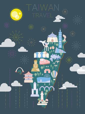 플랫 스타일의 아름다운 대만 여행 포스터 디자인