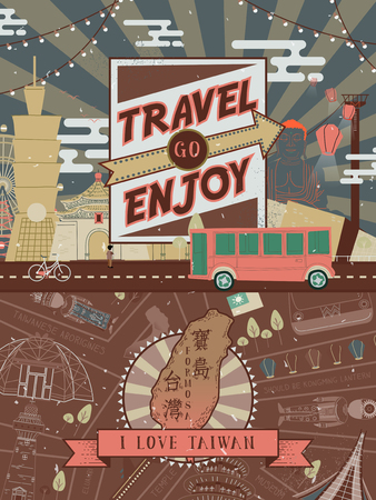formosa: lovely Taiwan travel poster design with famous attractions - Taiwan Formosa in Chinese word on the island