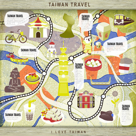 lovely Taiwan travel concept board game with attractions - blessing word in chinese on the sky lantern Vettoriali
