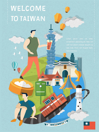 taiwan: lovely Taiwan travel poster design in flat style Illustration