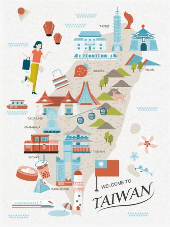 Schöne Taiwan Reise-Karte Design im flachen Stil Standard-Bild - 48665160