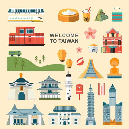 preciosas colecciones concepto de viajes de Taiwán establecidos en el estilo plano