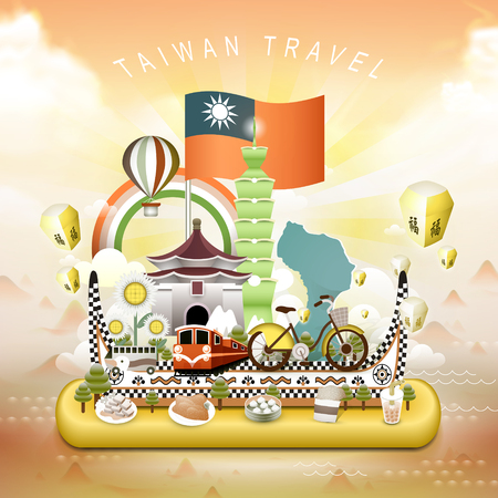 bao: lovely Taiwan travel elements in 3d isometric style - blessing word in chinese on the sky lantern