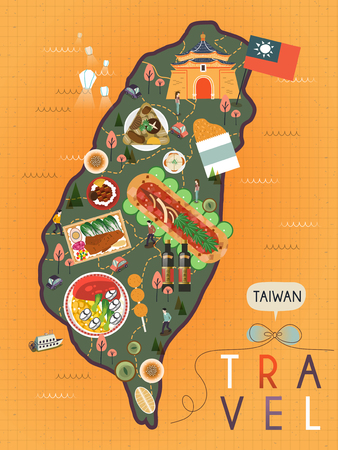 attractive Taiwan specialties poster design in flat style