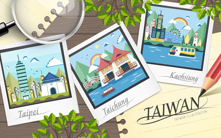 famous Taiwan travel attractions in flat design