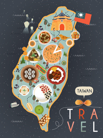 taiwan: attractive Taiwan specialties poster design in flat style