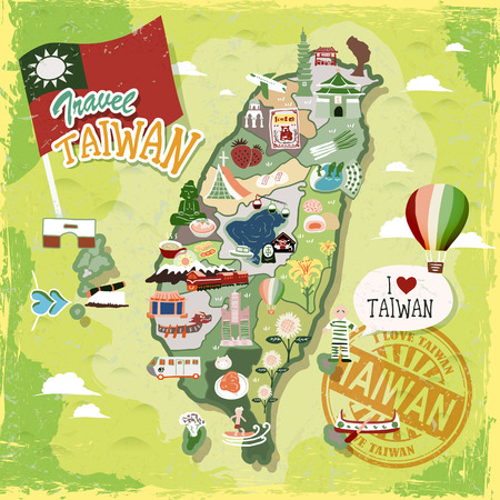 Taiwan travel map with abundant attractions and specialties