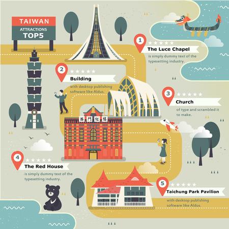 Schöne Taiwan Reise-Karte Design im flachen Stil Standard-Bild - 48665168