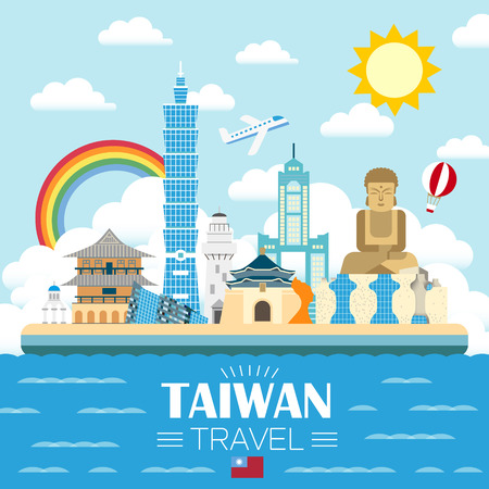 lovely Taiwan travel poster design in flat style Çizim