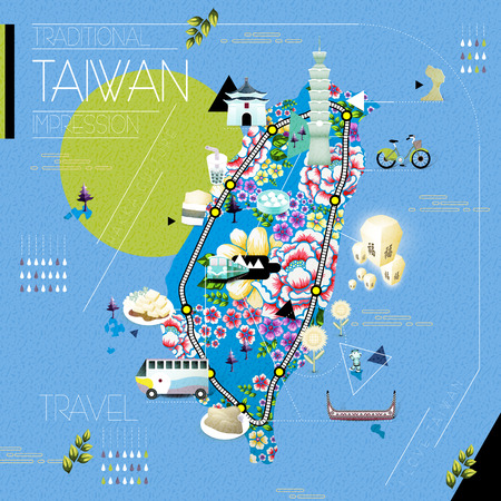 beautiful Taiwan attractions map with hakka floral pattern - blessing word in chinese on the sky lantern Illustration