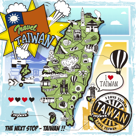 Taiwan travel map in comic style with attractions and specialties