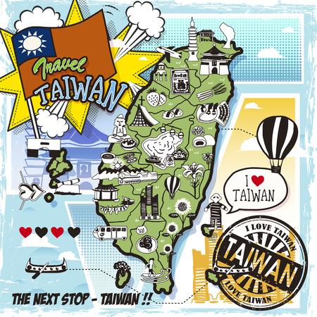 Taiwan reizen kaart in komische stijl met attracties en specialiteiten Stock Illustratie