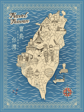 formosa: retro Taiwan travel map in line style - Taiwan Formosa in Chinese words on upper left