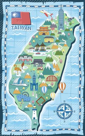Adorable Taiwan Reise-Karte mit Sehenswürdigkeiten in flachen Stil Standard-Bild - 48665981