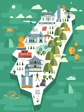 lovely Taiwan travel map design in flat style Stock fotó - 48665983