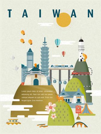 Schöne Taiwan-Reise-Plakat-Design in flachen Stil Standard-Bild - 48665986