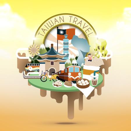 Taiwan reizen concept illustratie met attracties en specialiteiten