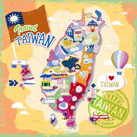Taiwan travel map with attractions and specialties