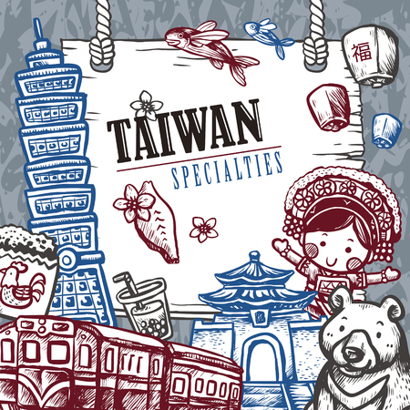 sky lantern: lovely Taiwan specialties poster design in hand drawn style - Chinese blessing word on sky lantern