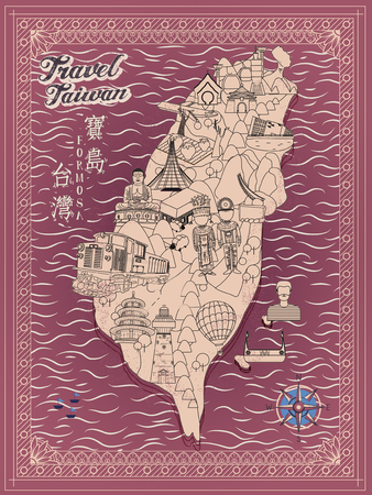 retro Taiwan travel map in line style - Taiwan Formosa in Chinese words on upper left